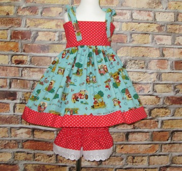 Little Red Riding Hood Top and Pantaloons Set-little red riding hood, fairy tale dress, fairy tale outfit, toddle outfit, infant outfit, back to school set, red polka dots pant, lace pant, girl red dress, girl blue dress, red and blue dress,tea party girl dress, ooc, ooak, pageant outfit