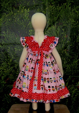 Girls of the World baby doll style dress-handmade,dress,peasant tops,ruffles pant,pageant dress,supplies,commercial,sewing,fabric,pattern,children custom,dress,pants,applique,vintage,tutorial knitting,neddles,owls,apanese,kawaii,fabric,cotton fabric,cotton,ribbon,bows,hair clips,hair accessories,toddles,baby shower,girl,summer,tunic,wallet,purse,buttons,thread,international shipping,free shipping,flat rate