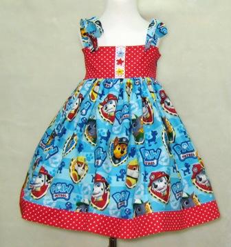 Paw Patrol Red and Blue Dress-paw patrol dress, paw patrol tunic, paw patrol top, red and blue girl dress, church girl dress, girl red polka dots dress, girl blue dress, doggy dress, dog dress, girl red dress, birthday dress, party dress, fairy tale dress, cartoon dress