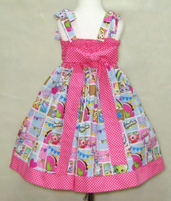 Shopkins Dress-Shopkinns dress, polka dots girl dress, back to school dress, fall dress, winter girl dress, pink girl dress, church girl dress, pink and blue girl dress, summer dress, hot pink girl dress, birthday girl dress, tea time dress