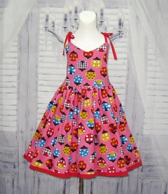 Pink Ladybugs Dress-pink girl dress, lady bug dress, animal print dress, toddler dress, infant dress, girl pink dress, pink and red girl dress, church dress, back to school dress, Easter dress, fall girl dress summer girl dress, spring girl dress