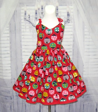 Red Lady Bugs  Dress-ladybugs dress,  red girl dress, red dress, summer dress, fall dress, back to school dress, toddler dress birthday dress, party dress, gingham dress, polka dots dress, animal print dress, infant dress, church girl dress