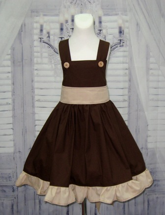 Brown Jumper Syle Girl Dress-brown jumper, school dress, girl brown dress, brown girl, brown ruffle dress, ruffle dress, girl school dress, back to school dress, cream dress, jumper, summer dress, sun dress, Easter dress, smash cake dress