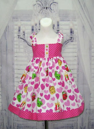 Shopkins Pink Dress-shopkins dress, heart girl dress, spring dress summer girl dress, white and pink girl dress, back to school dress, pink and hot pink girl dress, halter dress