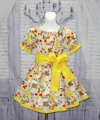 Yellow Happy Smile Peasant Dress-yellow girl dress, polka dots girl dress, church dress, back to school dress, Easter dress, thanksgiving dress, winter dress, fall dress, spring dress, summer girl dress, twirl skirt, dress with sash, red and yellow dress, yellow polka dots