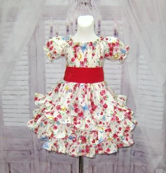Floral Ruffle Dress-floral ruffle dress, triple ruffle dress, twirly skirt, roses dress, ivory dress, pageant dress, baby doll dress, fall dress, thanksgiving dress, Christmas dress, toddler dress, girl flower dress