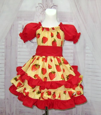 Strawberry Ruffle Dress-red ruffle dress, yellow ruffle dress, gingham dress, OOC, OOAK, pageant ruffle dress, pageant dress, red and yellow dress, church dress, smash cake dress, first birthday dress, toddler dress, girl dress, girls dresses, party dress