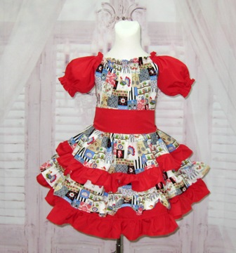 Red Country Style Ruffle Dress-rooster dress, girl ruffle dress, red dress, blue girl dress, pageant dress, OOC, OOAK, girl ruffle dress, church dress, birthday dress, smash cake dress, Thanksgiving dress, Christmas dress, toddler dress, little girl dress