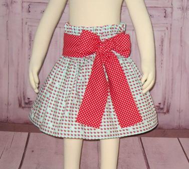 Strawberry Blue  Skirt-blue skirt, blue and red skirt, polka dots girl skirt, red bow, polka dots bow, toddle skirt, church skirt, summer skirt, fall skirt, infant skirt