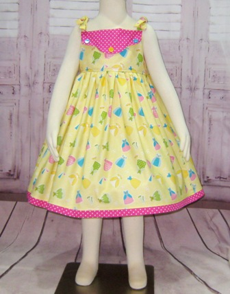Yellow and Hot pink Summer Dress-yellow girl dress, hot pink dress, polka dots girl dress, back to school dress, sundress, summer dress, toddler dress, picture dress, Photoshop dress, girl church dress, Easter Dress, Thanksgiving dress, party dress