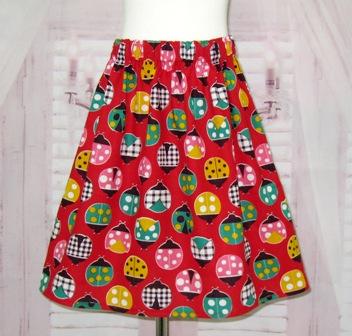 Red Lady Bugs Skirt-girl skirt, girl skirt, summer skirt, fall skirt, back to school skirt, winter skirt, ladybugs skirt, toddler skirt, infant skirt, little girl skirt, gingham skirt, polka dots skirt, church skirt
