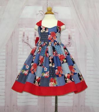 Floral Girl Dress-floral girl dress, blue and red dress, patchwork dress, toddler blue dress, girl blue dress, flower girl dress, holiday dress, Christmas dress, red bow dress