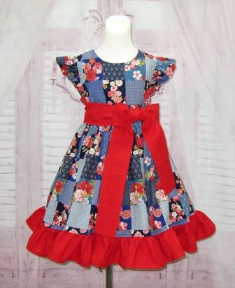Patchwork Girl Blue Dress-girl blue dress, flower girl dress, blue and red dress, red and blue dress, red bow, red sash dress, toddler dress, infant dress, western dress, fall girl dress, winter girl dress, spring girl dress, back to school dress