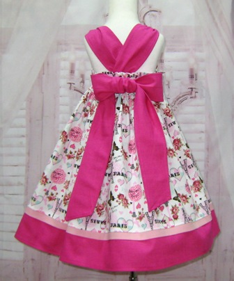 Pink Paris Dress-girl pink dress, girl pink and white dress, Paris dress, French dress, toddler pink dress, pink and hot pink girl dress,  smash cake dress, back to school dress, girl pink church dress, flower girl dress, birthday girl dress,
