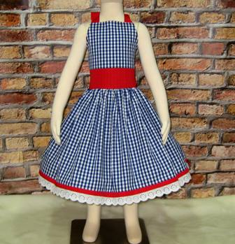 Blue And Red Girl Dress-girls dresses, blue and red dress, lace dress, patriotic dress, 4 of July dress, Independence day dress, flower girl dress, retro style dress, halter dress, back to school dress, summer dress, fall dress, spring dress, Easter dress, toddler dress, infant dress, gingham dress