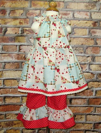 Strawberry And Polka Dots Outfit-strawberry dress, strawberry girl dress, strawberry and pant set, red polka dots pant, ruffle pant, girl pant, back to school, church outfit, pageant outfit
