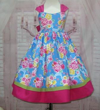 Blue Floral Girl Dress-blue girl dress, floral girl dress, pink and blue girl dress, girl pageant dress, back to school dress, Girl Easter dress, toddler Easter dress, girl church dress, flower girl dress, spring girl dress, girl summer dress, girl beach dress