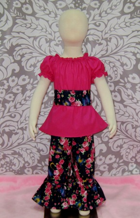 Jumper, Pant and Top Set-girl outfit, toddler outfit back to school, Easter outfit, Christmas outfit, summer dress, fall outfit, winter outfit, spring outfit, infant outfit, church girl outfit, pageant outfit, OOC, OOAK, floral dress, ruffle pant, jumper, retro style dress, peasant top