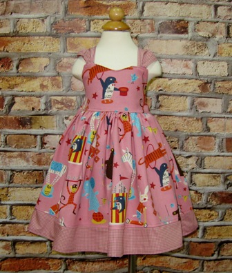 Kawaii Pink Circus Dress-girl pink dress, twirly skirt, ruffle dress, summer dress, back to school dress, spring dress, Easter dress, Christmas dress,little girl dress, girl dresses, Japanese fabric, lion dress, tiger dress, elephant dress
