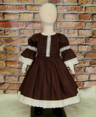 Vintage Style Brown Dress-girl brown dress, girls dresses, fall dress, winter dress, summer dress, back to school dress, toddler dress, peasant dress, flower girl dress, lace dress, church girl dress, tea time dress, retro style dress, country style girl dress, western  dress, cream dress