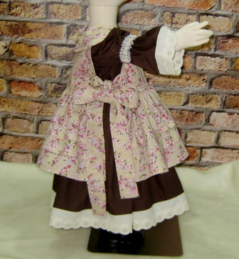 Vintage Style Dress and Pinafore-toddler dress, vintage style girl dress, pinafore, floral girl dress, girl brown dress, lace dress, flower girl dress, church dress, church girl dress, peasant dress, back to school, fall dress, Easter dress, western style dress, winter dress, summer dress, birthday dress, tea time dress