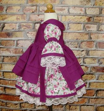 Floral Dress and Purple Pinafore-vintage style girl dress, lilac dress, ruffle dress, twirly skirt, toddler dress, fall dress, winter dress, thanksgiving dress, summer dress, back to school, Easter dress, flower girl dress, little girl dress, retro dress, Western  dress