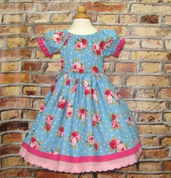 Pink Roses Girl Blue Dress-Girl blue dress, toddler blue dress, infant dress, pageant dress, vintage style dress, peasant dress, girl church  dress, summer girl dress, fall girl dress, tea party dress, flower girl dress, pink cotton lace, red roses