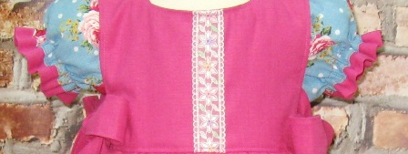Blue Dress and Hot Pink Pinafore Set-Vintage style girl dress, pinafore, Easter girl dress, summer girl dress, spring girl dress, church girl dress, boutique clothing, handmade girl dress, girl pink dress, girl blue dress, custom boutique, floral girl dress, flower girl dress, Japanese cotton fabric