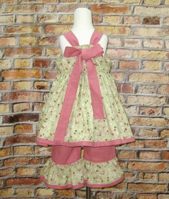 Pink and Green Sunbonnet Outfit-top and pant set, Capri , summer outfit, green top, dusty rose pant, pink dress, church outfit, back to school outfit, ruffle pant, summer top, little girl outfit, toddler outfit, infant outfit, girl outfit