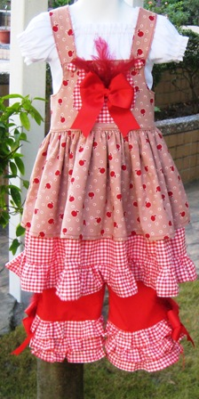 CUSTOM BOUTIQUE 5 PIECES OUTFIT DRESS RUFFLES PANT PEASANT TOP AND MORE-supplies, commercial, sewing, fabric, pattern, handmade, children, costume, dress, pants, applique, vintage, tutorial, knitting needles,owls,japanese,fabric,cotton fabric,cotton,