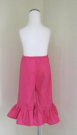 HOT PINK POLKA DOTS SINGLE RUFFLE PANT-hot pink polka dots pant, pink girl pant, back to school pant, Capri, gaucho, little girl pant, infant pink pant, summer girl pant