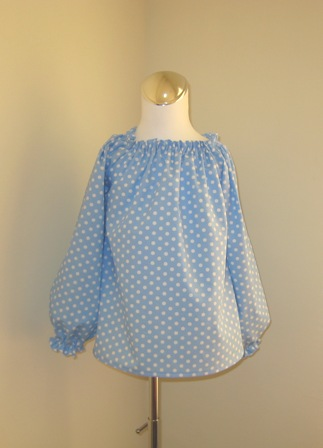 Light Blue Polka Dots Long Sleeve Peasant Top 12M TO 7-supplies,comercial,sewing,fabric,pattern,handmade,chilndren custom,dress,pants,applique,vintage,tutorial knitting,neddles,owls,japanese,kawaii,fabric,cotton fabric,cotton,ribbon,bows,hair clips,hair accessories,toddles,baby shower,girl,summer,tunic,wallet,purse,buttons,thread,international shipping,free shipping,flat rate