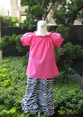 Pageant Custom Boutique Hot Pink and Zebra Peasant Top and Pant Set-supplies,commercial,sewing,fabric,pattern,handmade,children custom,dress,pants,applique,vintage,tutorial