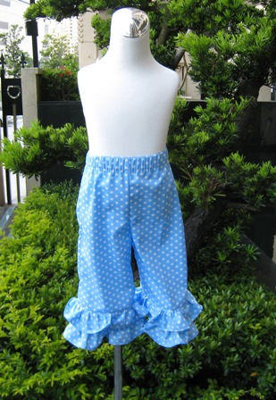 CUSTOM BOUTIQUE LIGHT BLUE POLKA DOTS DOUBLE RUFFLES PANT-supplies,commercial,sewing,fabric,pattern,handmade,children custom,dress,pants,applique,vintage,tutorial knitting,neddles,owls,japanese,kawaii,fabric,cotton fabric,cotton,ribbon,bows,hair clips,hair accessories,toddles,baby shower,girl,summer,tunic,wallet,purse,buttons,thread,international shipping,free shipping,flat rate