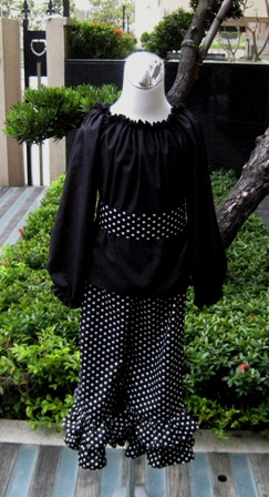Pageant Custom Boutique Black And White Peasant Top Set-black and white outfit,peasant top,sash,ruffle pant,rumba pant,pageant outfit,
