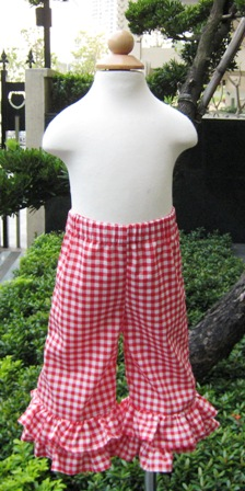 Red Gingham Double Ruffles Pant-Red and white girl pant, summer pant, fall pant, little girl pant, infant Capri, toddler pant, gingham girl ruffle pant