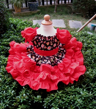 Sweet Strawberry Red Polka Dots Triple Ruffle Peasant Dress-Twirly dress,twirly skirt,ruffle dress,peasant dress,summer dress,pageant dress,back to school outfit,