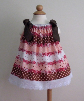 Pink Brown Polka Dots And Bows White Lace Pillowcase Dress-girl summer spring ×back to school pageant ×bow ×lace ×ballet ×grosgrain ribbon ×Easter ×red blue withe ×toddler ×polka dots ×