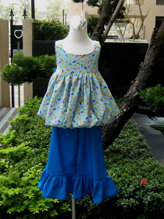 Blue Ducks Bubble Style Top And Blue Ruffle Pant-easter outfit,pageant dress,back to school outfit,bow,blue dress,bubble top,duck dress