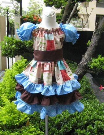 Custom Boutique Triple Ruffle Blue Polka Dots And Brown Ballerina Peasant Dress-Twirly dress,twirly skirt,ruffle dress,summer dress,back to school,Disney outfit,Easter dress,Christmas dress,Custom order,Pageant dress,
