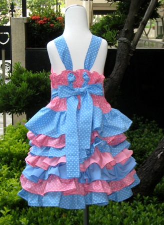 Pink And Blue Polka Dots Top And Ruffle Skirt-nie nie skirt, ruffled dress, ruffle skirt, twirly skirt, church dress, girls outfits, girls dresses, girl dress, pink dress, polka dots skirt, flower girls dress