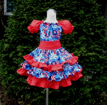 Patriotic Red White And Blue Triple Ruffle Peasant Dress-handmade,dress,peasant tops,ruffles pant,pageant dress,supplies,commercial,sewing,fabric,pattern,children custom,dress,pants,applique,vintage,tutorial knitting,neddles,owls,apanese,kawaii,fabric,cotton fabric,cotton,ribbon,bows,hair clips,hair accessories,toddles,baby shower,girl,summer,tunic,wallet,purse,buttons,thread,international shipping,free shipping,flat rate
