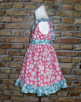 Pink And Blue Ruffle Dress-handmade,dress,peasant tops,ruffles pant,pageant dress,supplies,commercial,sewing,fabric,pattern,children custom,dress,pants,applique,vintage,tutorial