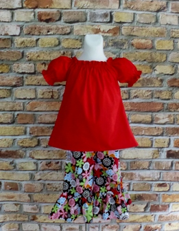 Pageant Custom Boutique Mandalay Flowers Peasant Top And Pant Set-handmade,dress,peasant tops,ruffles pant,pageant dress,supplies,commercial,sewing,fabric,pattern,children custom,dress,pants,applique,vintage,tutorial