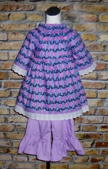Purple Flowers Dress-handmade,dress,peasant tops,ruffles pant,pageant dress,supplies,commercial,sewing,fabric,pattern,children custom,dress,pants,applique,vintage,tutorial