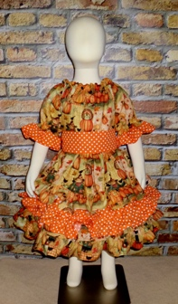 Thankful Pumpkin Patch Triple Ruffle Peasant Dress-handmade,dress,peasant tops,ruffles pant,pageant dress,supplies,commercial,sewing,fabric,pattern,children custom,dress,pants,applique,vintage,tutorial knitting,neddles,owls,apanese,kawaii,fabric,cotton fabric,cotton,ribbon,bows,hair clips,hair accessories,toddles,baby shower,girl,summer,tunic,wallet,purse,buttons,thread,international shipping,free shipping,flat rate