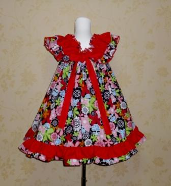 Mandalay flowers baby doll style dress-halter dress,twirly,red,white,summer dress,disney dress, ruffle dress,retro,skirt,ooak,ooc,pageant dress,handmade,custom orders,blue,polka dots dress,bow dress,ruffle dress