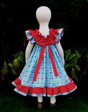 Berries and flowers baby doll style dress-halter dress,twirly,red,white,summer dress,disney dress, ruffle dress,retro,skirt,ooak,ooc,pageant dress,handmade,custom orders,blue,polka dots dress,bow dress,ruffle dress