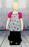 Shopkins Peasant Top-shopkins blouse, shopkins dress, girl top, toddler top, infant blouse, back to school top, girl pink blouse. church girl clothes, pink and blue girl top, hot pink girl blouse, summer girl top, infant blouse