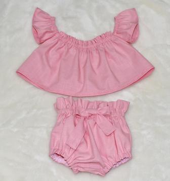 Pink Off Shoulder Top And Bloomer